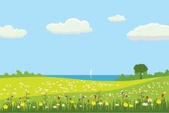 Un paisaje lindo rural, una hermosa vista, campos de los prados, flores florecientes Estilo de la historieta, vector, aislado libre illustration
