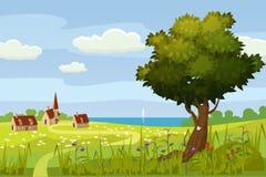 Un paisaje lindo rural, una hermosa vista, una granja, una casa, campos de los prados, flores florecientes Estilo de la historiet ilustración del vector