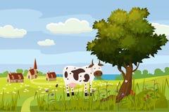 Un paisaje lindo rural, una hermosa vista, una granja, una casa, una vaca, campos de los prados, flores florecientes Estilo de la stock de ilustración