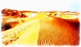 Un paisaje marroqu? del desierto compuesto y efecto de pintura del ordenador stock de ilustración
