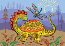 Un paisaje prehistórico con el dinosaurio y la libélula coloridos ilustración del vector