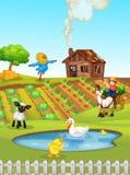 Un paisaje rural de las tierras de labrant?o stock de ilustración