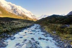 Un paisaje tiró de un río que fluía del hielo de fusión Foto de archivo