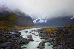 Un paisaje tiró del agua que fluía del glaciar de fusión que formó un río Imagen de archivo libre de regalías