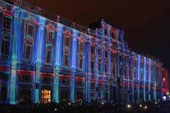 Un palazzo blu sul DES Terreaux del posto a Lione Fotografia Stock Libera da Diritti