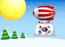 Un pallone con la bandiera della Corea del Sud Fotografia Stock