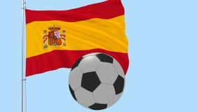 Un pallone da calcio realistico vola intorno alla bandiera realisticamente d'ondeggiamento della Spagna su un fondo trasparente,  illustrazione vettoriale