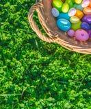 Un panier avec les décorations colorées d'oeufs de pâques sur l'herbe avec des trèfles photographie stock libre de droits