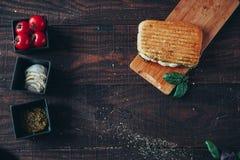 Un panino griled delizioso di panini Vista superiore Fotografia Stock