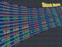 Un panneau d'affichage de marché boursier quotidien Photos stock