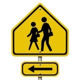 Panneau d'avertissement de passage piéton d'école Photos libres de droits