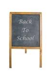 Un panneau de craie avec de nouveau au mot d'école Photos libres de droits