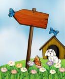 Un panneau de flèche avec des papillons Photo libre de droits