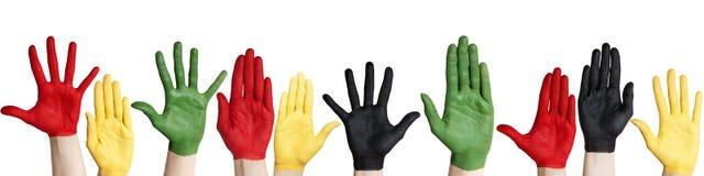 Panorama des mains colorées Image stock