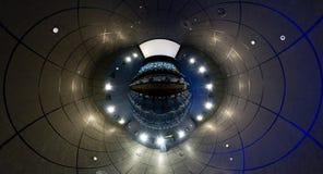 Un panorama de 360 grados del pasillo del cine Imágenes de archivo libres de regalías