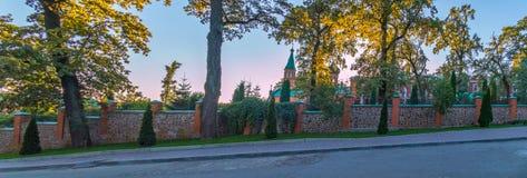 Un panorama degli alberi alti che crescono accanto al recinto dietro cui le cime delle cupole possono essere vedute Fotografia Stock