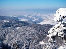 Un panorama des montagnes polonaises de Pieniny dans une robe longue d'hiver Photos stock