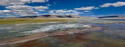 Un panorama insolitamente luminoso e variopinto della superficie dell'acqua è lago dell'alta montagna del TSO Kar: sha bianco ros Fotografia Stock Libera da Diritti