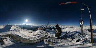 un panorama sferico alpino di 360 gradi Fotografia Stock Libera da Diritti