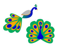 Un paon stylisé (vue de côté avant et) Image libre de droits