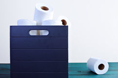 Un papel higiénico fuera de la caja de los papeles higiénicos Fotos de archivo libres de regalías