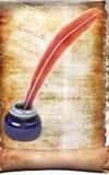Un papel viejo con una pluma de la pluma, tintero Imágenes de archivo libres de regalías
