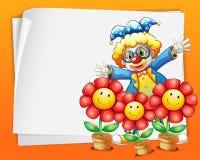 Un papier vide avec un clown et des pots de fleurs Images stock