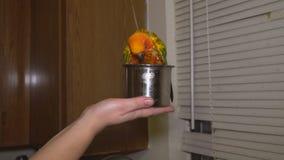 Un pappagallo giallo eccellente fare un bagno video d archivio
