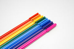 Un paquet de stylos de couleur d'isolement Images libres de droits