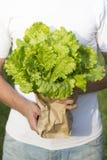 Un paquete de ensalada en sus manos Foto de archivo