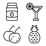 Un paquete del vector de la línea relacionada iconos de la comida stock de ilustración