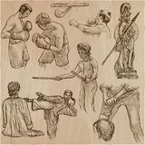 Un paquete dibujado mano - colección de los guerreros, combatientes Línea arte Foto de archivo libre de regalías
