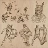Un paquete dibujado mano - colección de los guerreros, combatientes Línea arte Imagen de archivo libre de regalías