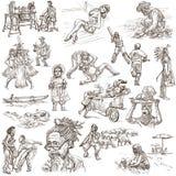 Un paquete dibujado mano, línea arte - GENTE Foto de archivo libre de regalías