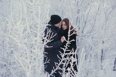 Un par cariñoso en un paseo del invierno Historia de amor de la nieve, magia del invierno Hombre y mujer en la calle escarchada E imágenes de archivo libres de regalías