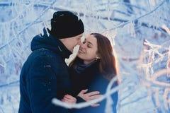 Un par cariñoso en un paseo del invierno Historia de amor de la nieve, magia del invierno Hombre y mujer en la calle escarchada E fotografía de archivo