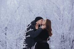 Un par cariñoso en un paseo del invierno Historia de amor de la nieve, magia del invierno Hombre y mujer en la calle escarchada E imagen de archivo