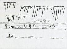 Un par cariñoso que camina a través del campo libre illustration