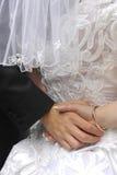 Pares de la boda que llevan a cabo las manos Fotografía de archivo libre de regalías