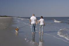 Un par con su perro Fotografía de archivo libre de regalías