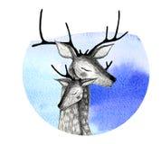 Un par de ciervos en un fondo de la acuarela foto de archivo libre de regalías