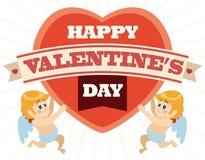 Un par de cupidos lleva a cabo un corazón con el mensaje del día de tarjeta del día de San Valentín, ejemplo del vector Fotos de archivo