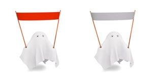 Un par de fantasma lindo con una diversa bandera Fotos de archivo libres de regalías