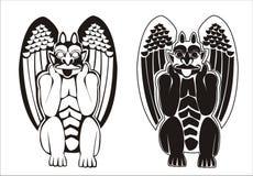 Un par de gargoyles blancos y negros Imagen de archivo libre de regalías