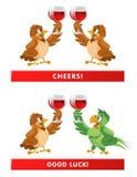 ¡Un par de gorriones y de un loro que da alegrías de una tostada! Buen lu Foto de archivo