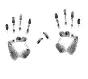 Un par de impresiones de la mano Fotografía de archivo