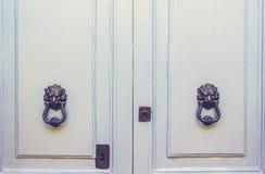 Un par de metal viejo Lion Head Knockers en puertas azules claras Imagen de archivo