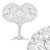Un par de pájaros en la corona del árbol del corazón ilustración del vector