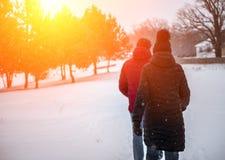 Un par de personas caminan en el parque del invierno imagenes de archivo