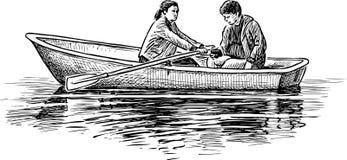 Un par de personas jovenes en un viaje del barco libre illustration